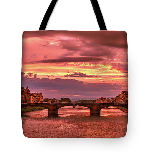 Saint Trinity Bridge From Ponte Vecchio At Red Sunset In Florence, Italy Tote Bag