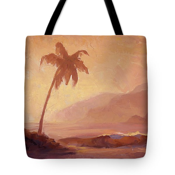 Tote Bag featuring the painting Dreams Of Hawaii - Tropical Beach Sunset Paradise Landscape Painting by Karen Whitworth