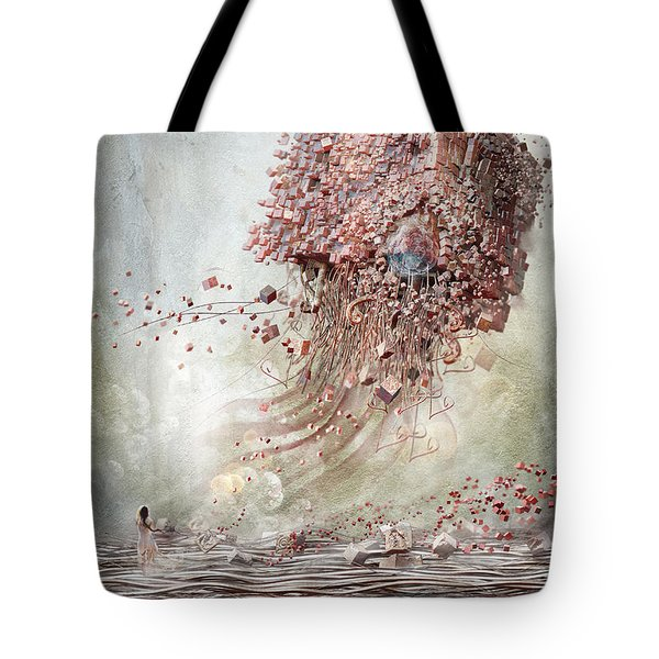 Tote Bag featuring the digital art Dreamscape Flow No.1 by Te Hu