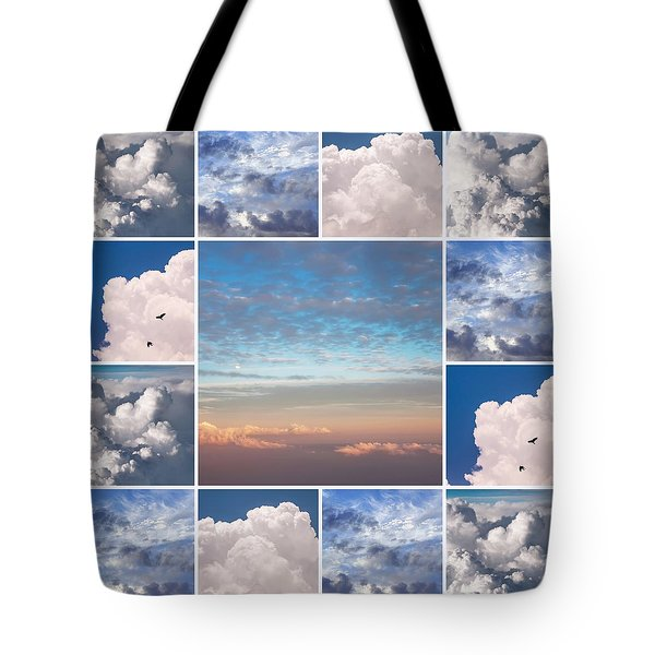 Tote Bag featuring the photograph Dreamy Clouds Collage by Jenny Rainbow