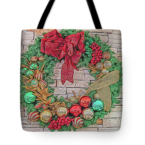 Dreamy Holiday Wreath Tote Bag