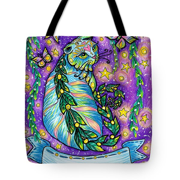 Dreamy Midnight Cat Purple Colored With Coloring Pencils Tote Bag