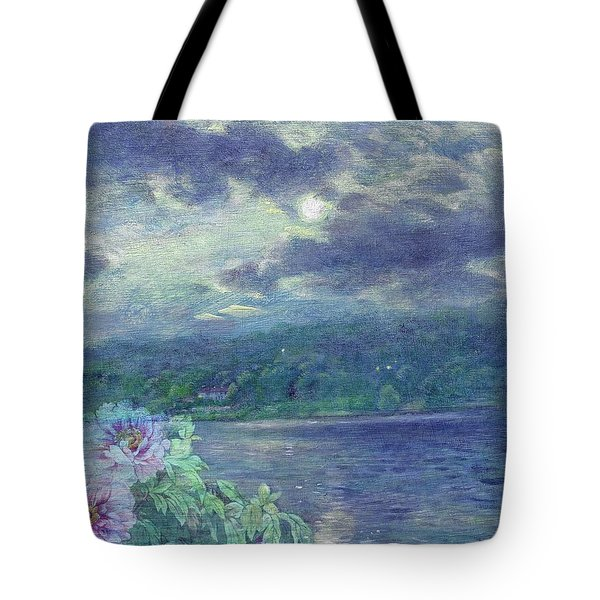 Dreamy Moon Over Peony Tote Bag