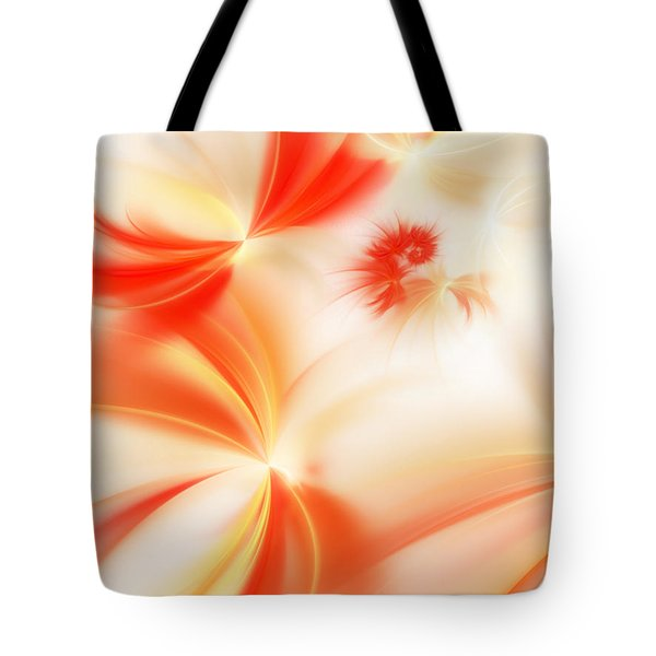 Tote Bag featuring the digital art Dreamy Orange And Creamy Abstract by Andee Design