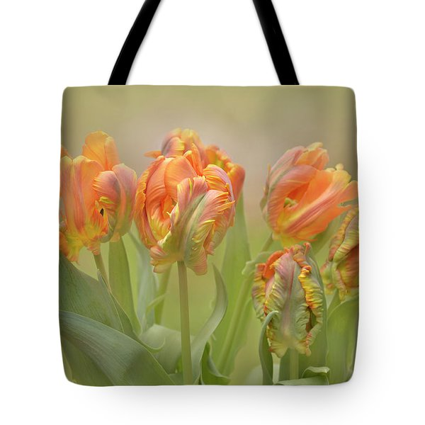 Dreamy Parrot Tulips Tote Bag by Ann Bridges