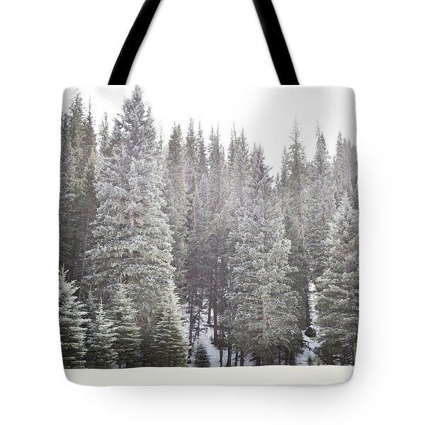 Tote Bag featuring the photograph Dreamy Pine Snow Forest Landscape by Andrea Hazel Ihlefeld