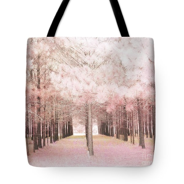 Tote Bag featuring the photograph Dreamy Shabby Chic Pink Nature Pink Trees Woodlands - Pink Nature Nursery Prints Decor by Kathy Fornal