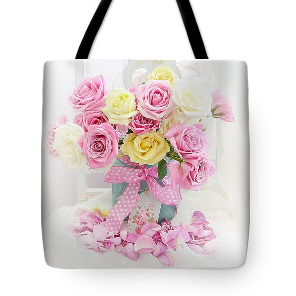 Tote Bag featuring the photograph Dreamy Shabby Chic Pink Yellow Roses On White Chair - Vintage Pastel Cottage Pink Roses Home Decor by Kathy Fornal