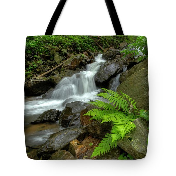 Tote Bag featuring the photograph Dreamy Waterfall Cascades by Debra and Dave Vanderlaan