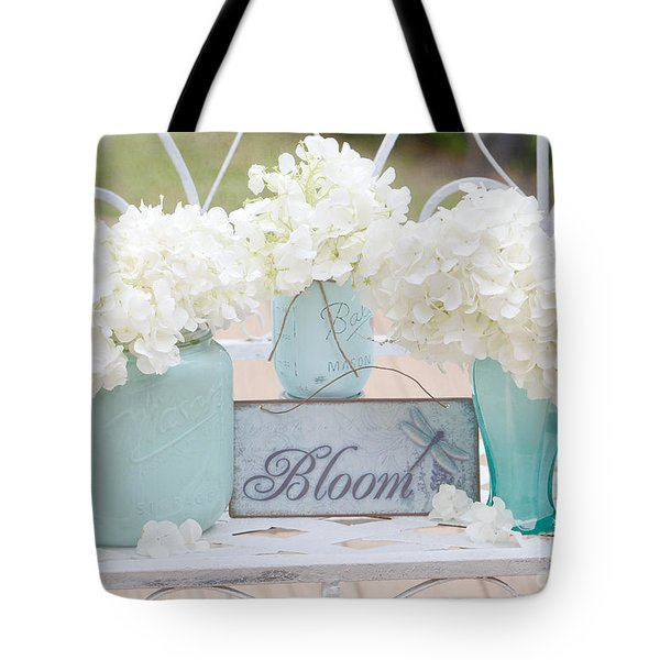 Dreamy White Hydrangeas - Shabby Chic White Hydrangeas In Aqua Blue Teal Mason Ball Jars Tote Bag