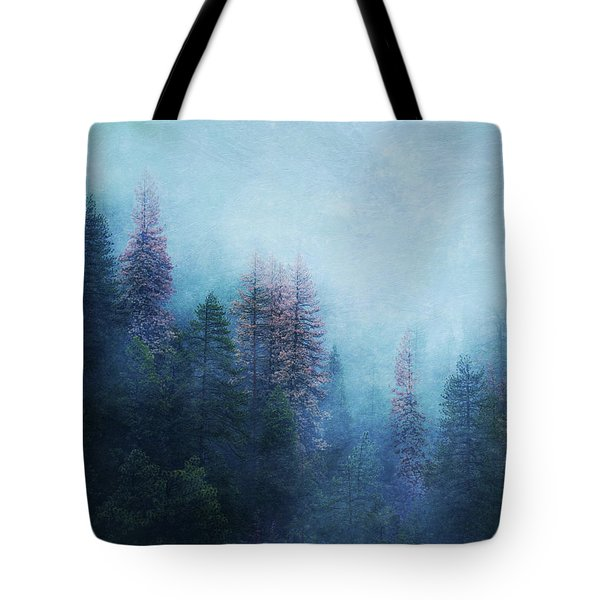 Tote Bag featuring the digital art Dreamy Winter Forest by Klara Acel