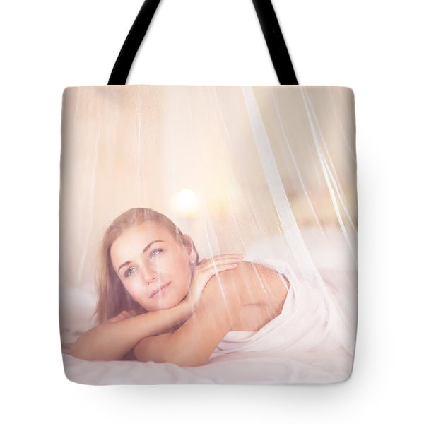 Dreamy Woman In Bedroom Tote Bag