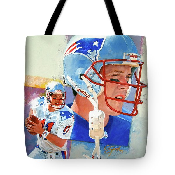 Tote Bag featuring the painting Drew Bledsoe by Cliff Spohn