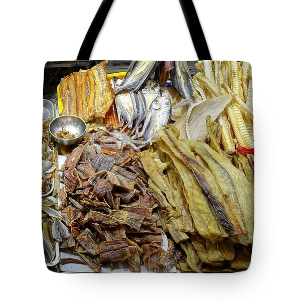 Tote Bag featuring the photograph Dried Fish Is Sold At The Market by Yali Shi