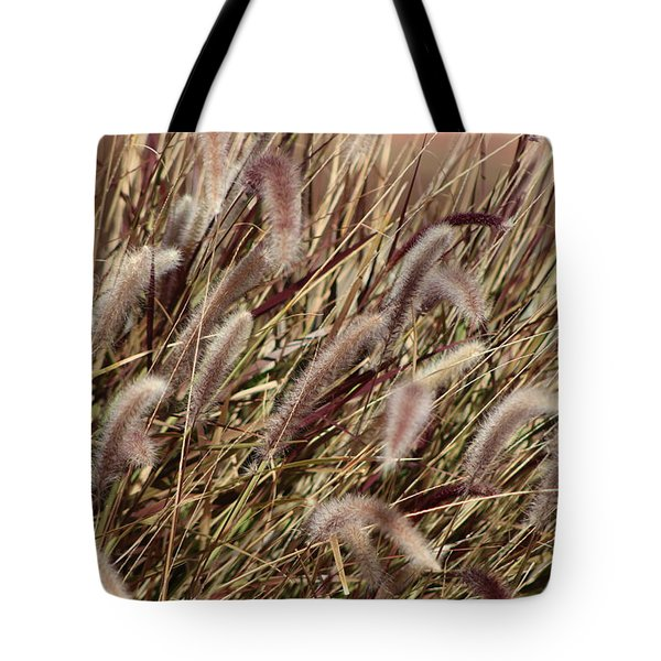 Dried Grasses In Burgundy And Toasted Wheat Tote Bag