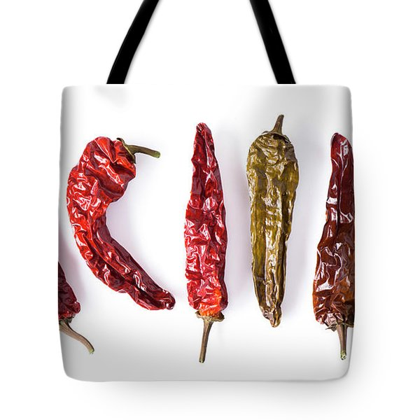 Dried Peppers Lined Up Tote Bag