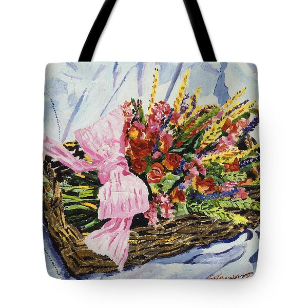 Dried Rose Basket On Lace Tote Bag
