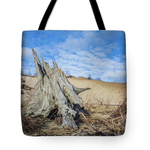Dried Stump At Warren Dunes Tote Bag