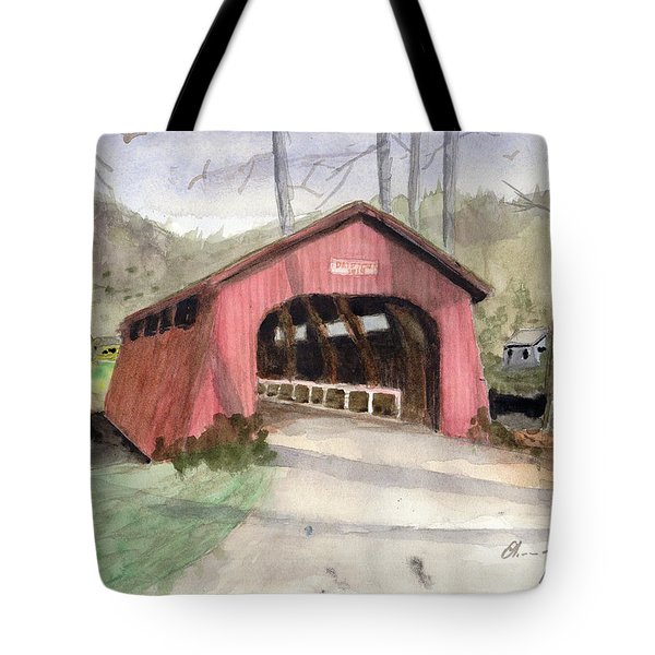 Drift Creek Covered Bridge Watercolor Tote Bag