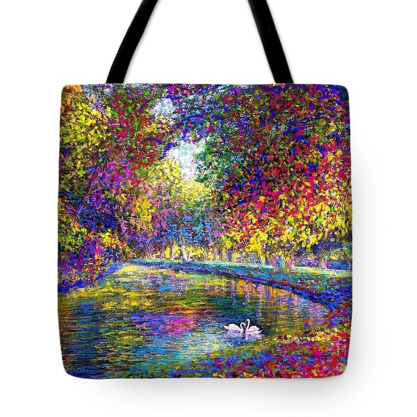 Tote Bag featuring the painting Drifting Beauties, Swans, Colorful Modern Impressionism by Jane Small