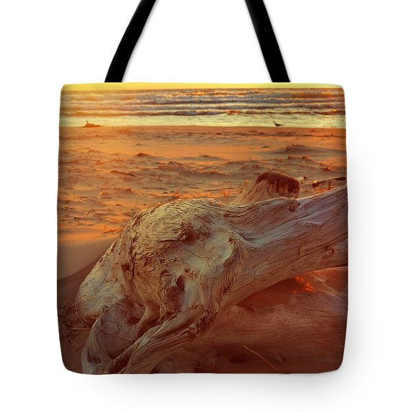 Tote Bag featuring the photograph Driftwood At Sunset by Michelle Calkins