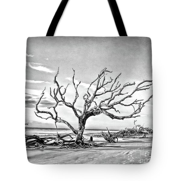 Tote Bag featuring the photograph Driftwood Beach - Black And White by Kerri Farley