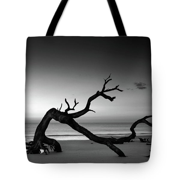 Driftwood Morning In Black And White Tote Bag