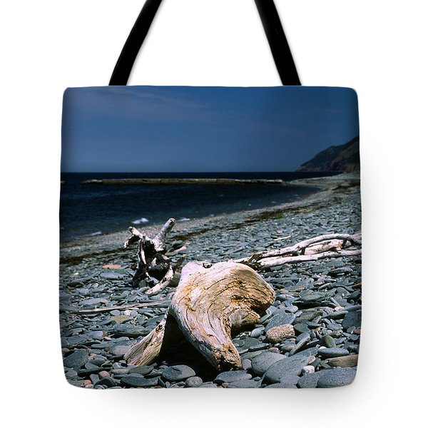 Driftwood On Rocky Beach Tote Bag by Sally Weigand