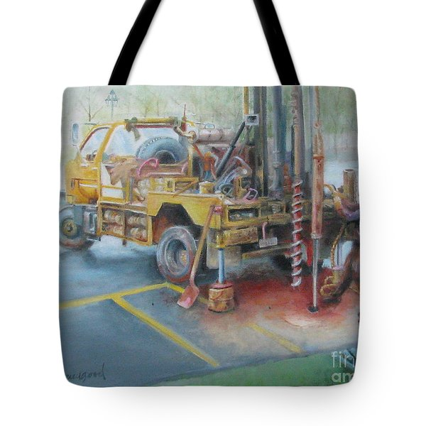 Tote Bag featuring the painting Drill,drill,drill by Oz Freedgood