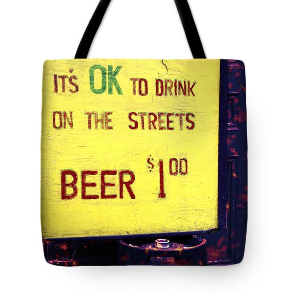 Drink On The Streets Tote Bag by John Rizzuto