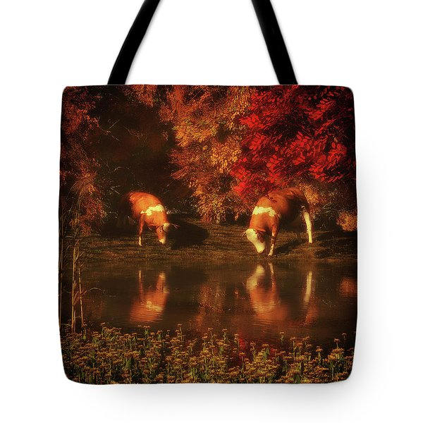 Drinking Cows In The Forest Tote Bag