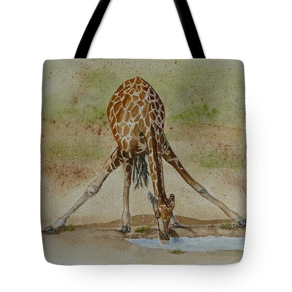 Drinking Giraffe Tote Bag by Kelly Mills