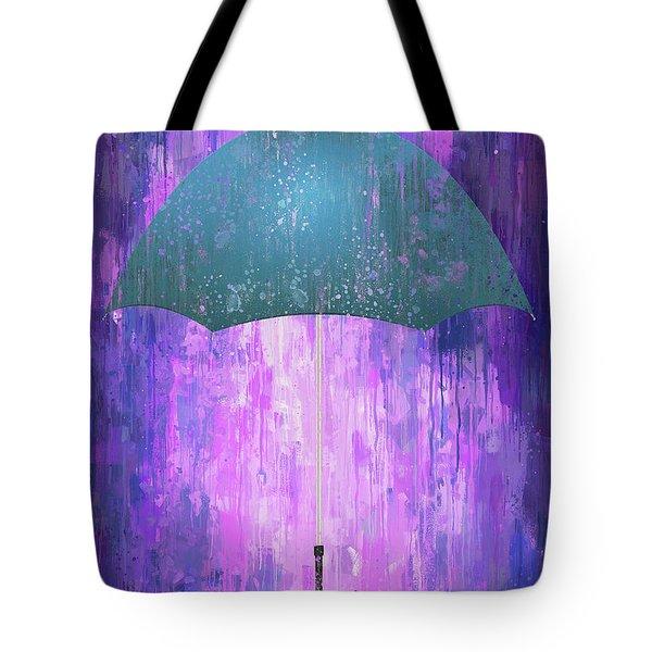 Dripping Poster Purple Rain Tote Bag