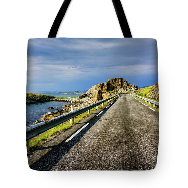 Tote Bag featuring the photograph Driving Along The Norwegian Sea by Dmytro Korol