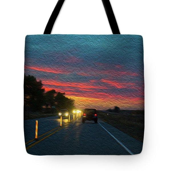 Driving Dusk Tote Bag