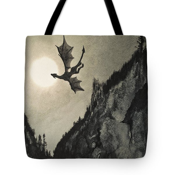 Tote Bag featuring the painting Drogon's Lair by Suzette Kallen