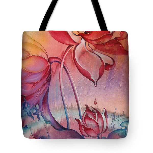 Tote Bag featuring the painting Drop Of Love by Anna Ewa Miarczynska