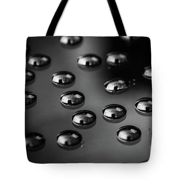 Drops Of Water - Macro - Black And White Tote Bag