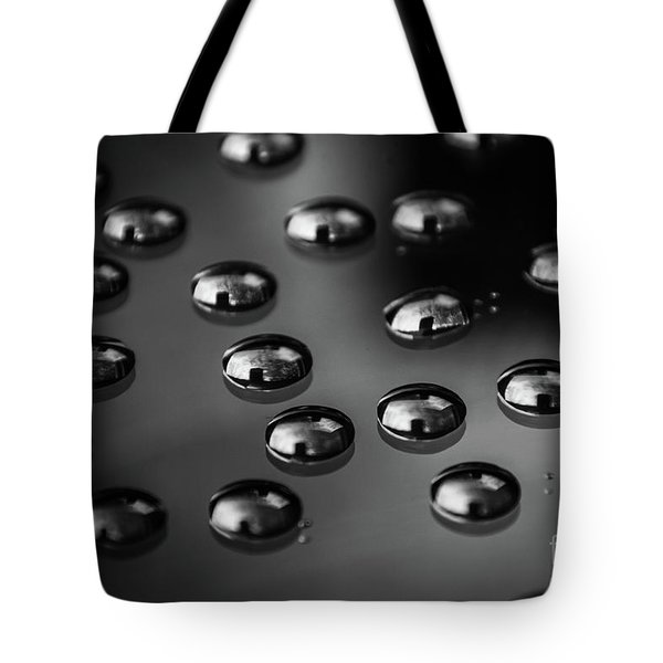 Drops Of Water - Macro - Black And White Tote Bag