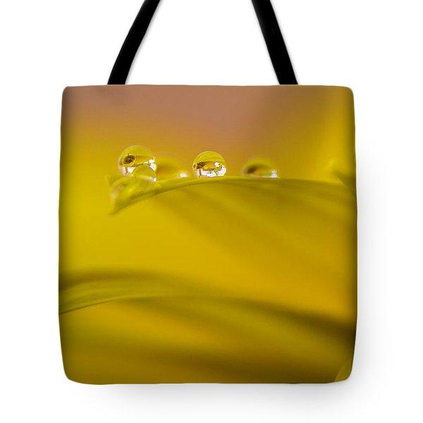 Drops Resting On A Leaf Tote Bag
