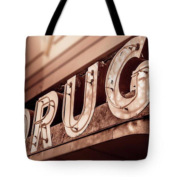 Drug Store Sign - Vintage Downtown Pharmacy Tote Bag