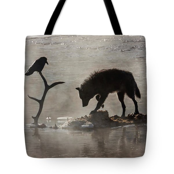 Druid Wolf And Raven Silhouette Tote Bag