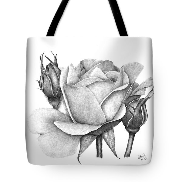 Tote Bag featuring the drawing Drum Rose by Patricia Hiltz