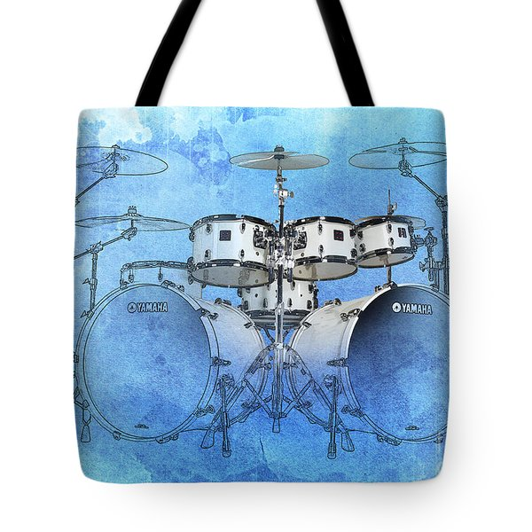 Drums Blue Background Tote Bag