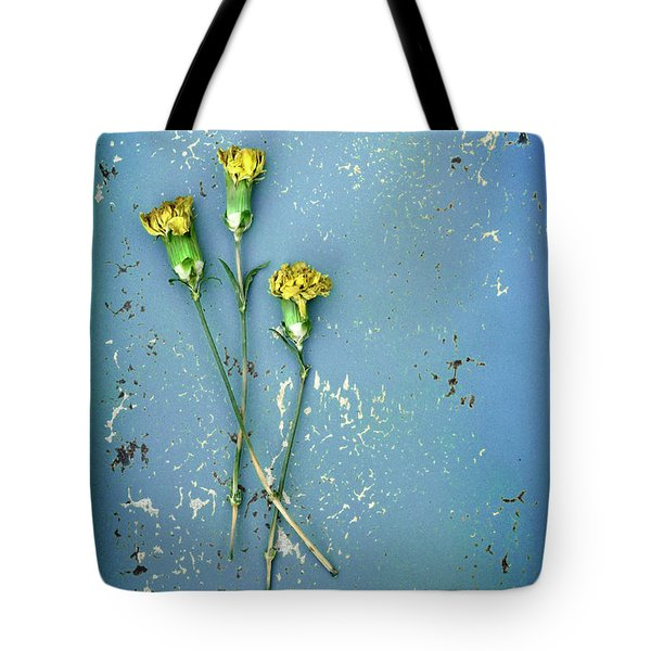 Dry Flowers On Blue Tote Bag by Jill Battaglia