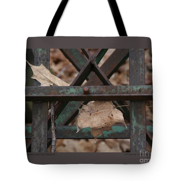 Tote Bag featuring the photograph Dry Leaves And Old Steel-iii by Patricia Overmoyer