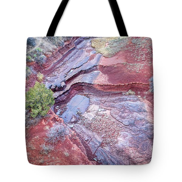 Dry Stream Canyon Areial View Tote Bag