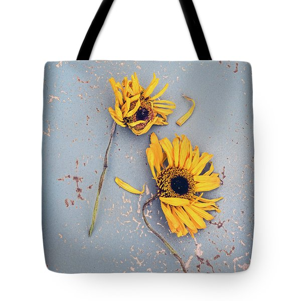 Dry Sunflowers On Blue Tote Bag by Jill Battaglia