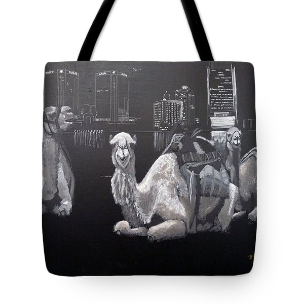 Tote Bag featuring the painting Dubai Camels by Richard Le Page