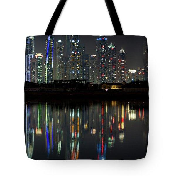 Dubai City Skyline Nighttime  Tote Bag